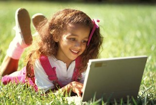 Girl with wireless laptop computer.